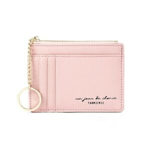 Women Leather Card Case, Zipper Coin Purse Wallet with Gold Keychain In Pink