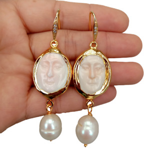 """carved Pink Queen Conch Facial White Rice Pearl Dangle Hook Earrings 2.5"""""""