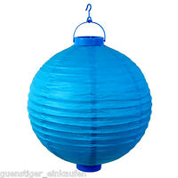 Lampion LED 30cm Hochzeit Party Laterne Reispapier Blau Deko Sommer Garten Licht