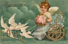 CARTE POSTALE POST CARD FANTAISIE GAUFREE BONNE ANNEE 1904 COLOMBE ANGE FLEUR