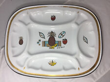 Vintage Georges Briard Enamel Mutil Section Tray With Pineapple & Fruit