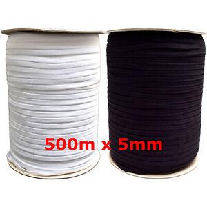 500m x 5mm Gummilitze Gummiband kochfest schwarz weiß weich leichter Zug Rolle