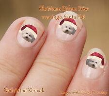 BICHON FRISE Christmas Santa Hat  24 Unique Designer Dog Nail Art Stickers