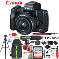 Canon EOS M50 Mirrorless Digital Camera + 15-45mm Lens Microphone Bundle Black