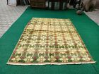Turkish Oushak Rug 5'4x7'1  feet Green Color Rug,Hand-made Vintage Rug 0448