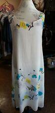 NWT CITRON SANTA MONICA WHITE TEXTURED SILK LONG DRESS WITH CRANES-SMALL
