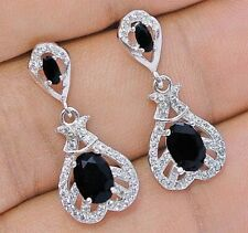 Must Have Black Sapphire & White Topaz 925 Sterling Silver Earrings Jewelry, V6
