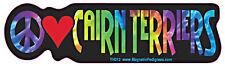 Peace Love Cairn Terrier Tie Dye Hippie Dog Car Decal Sticker
