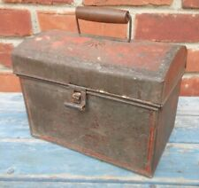 19th Century Tin Tole Painted Document Box With Traces Of Original Red Paint