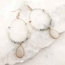 Bohemian Earrings Beads and Stone Long Earring Teardrop - white - LA Seller