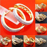 Hoop Earrings 18k Yellow G/F Gold Diamond Simulated Ladies Huggie Dangle Design