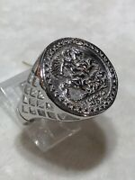 Genuine 925 Sterling Silver Half Sovereign St George imitation COIN RING