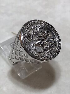 Genuine 925 Sterling Silver Half Sovereign St George imitation Coin Ring Heavy