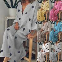 Women Polka Dot Casual Loose Long Sleeve Bohe Maxi Dress V Neck Beach Dresses SP