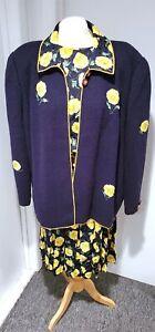 Lihli Saks Fifth Avenue 100% Silk Pleated Dress w/ Knit Jacket & Belt Sz 24W