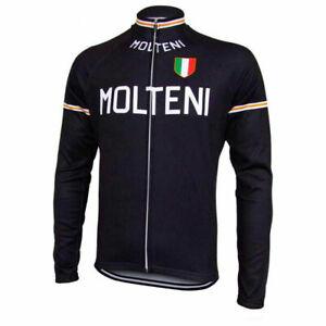 Brand New Team Molteni Fleece Thermal cycling Long Sleeve Jersey Eddy Merckx blk