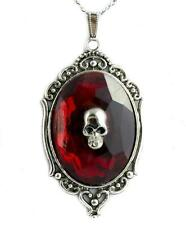 Death Skull w/ Red Stone Necklace Goth Victorian Jewelry Punk Alterantive Grunge