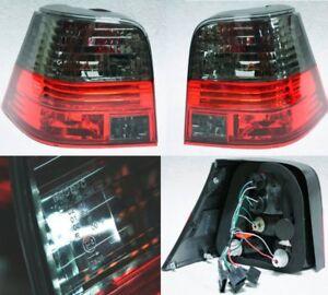 For VW Golf MK4 4 Hatchback Crystal Red Black Smoke Tail Lights Rear Lamp