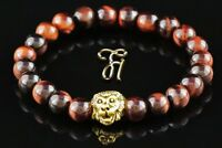 Tigerauge rot - goldfarbener Löwenkopf - Armband Bracelet Perlenarmband 8mm