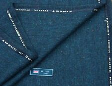 100% WOOL TWEED FABRIC, MIX BLUE/NAVY DONEGAL FLECK - MADE IN ENGLAND 2METRES