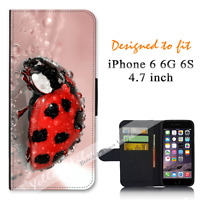 For Apple iPhone 6 6S 4.7inch Wallet Flip Case Cover Red Lady Beetle Y00870