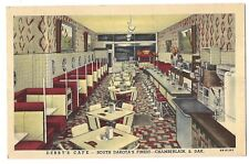"Interior DEBBY""S CAFE Red Booth Diner Chamberlain South Dakota Postcard SD Linen"