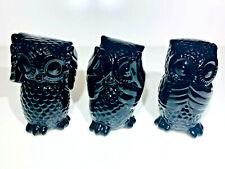 Set of 3 - Wise Owls  - BLACK