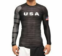 New Fuji USA 2.0 MMA BJJ Jiu Jitsu LongSleeve Long Sleeve LS Rashguard - Black