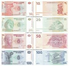 Congo 10 + 20 + 50 + 100 Francs Set of 4 Banknotes 4 PCS  UNC