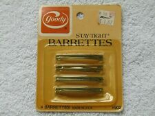 VINTAGE 1982 GOODY STAY TIGHT HAIR BARRETES NIP 4 COUNT MADE IN USA GOLD # 902