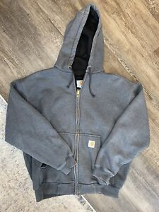 Vintage Carhartt Thermal Lined Sweatshirt Hoodie Gray Sun Faded Men's Large