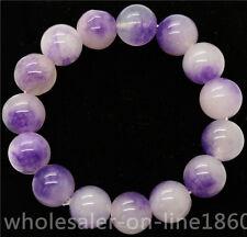 Round Gemstone Beads Bangle Bracelet 12mm Purple &White mix colors Jade