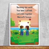 PERSONALISED ROMANTIC CARD - Sunset Poem - minecraft love valentines anniversary