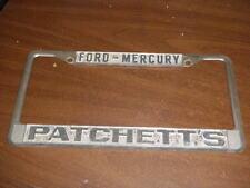 Ford Mercury Metal License Plate Frame Tag Patchett's embossed metal