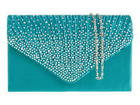 Ladies Satin Envelope Clutch Bag Diamante Evening Bag Handbag Gem Purse K41074