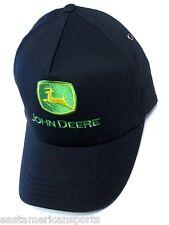 John Deere Trucker Cap Hat Solid Black Twill w/ Green & Yellow Deer Logo Farm