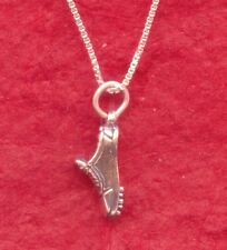 Sterling Silver Track Shoe Necklace running 925 Charm Pendant and Chain marathon