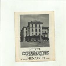 ANTICO DEPLIANT TURISTICO D' EPOCA HOTEL COURONNE MENAGGIO LAGO DI  COMO