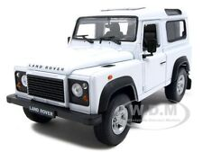 LAND ROVER DEFENDER WHITE 1:24 DIECAST MODEL CAR BY WELLY 22498