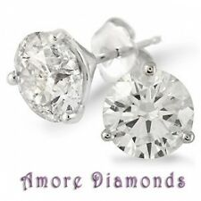 3.00 ct D SI2 round 100% natural diamond studs earrings platinum push backs