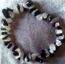 Black obsidian & moonstone chip perles bracelet cristal de guérison