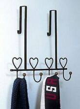 "OVER THE DOOR TOWEL HANGER HOLDER HEARTS 16"" WIDE BLACK METAL BATH ACCESSORY"