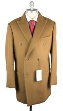 PORTO BESPOKE Brown Camel Hair Double Breasted Coat Jacket 52 L 42 R NWT $1625!