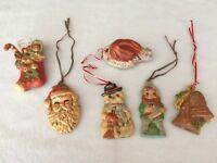 Vintage set (6)1950's  Ceramic Handpainted Christmas Ornaments Rare! Santa