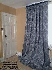 """SILVER GREY DAMASK, LONG LARGE SINGLE, BLACK LINED CURTAIN , 92""""W x upto 100""""D"""