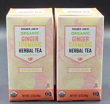 Trader Joe's ORGANIC GINGER TURMERIC HERBAL TEA 2 Boxes Tumeric  Caffeine Free