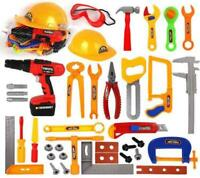 Kids Children Pretend Construction Builder Play Tools set with Drill,  Helmet