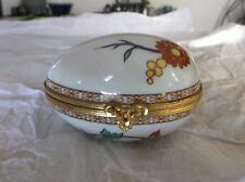 "Limoges CASTEL Porcelain Egg Trinket Box, France, Gilded Metal Closure, 3.25"" L"