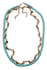 SURFER TWO PIECE SET NECKLACE ADJUSTABLE AZURE COCOA MOCHA STRANDS (ZX54)