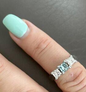Blue Diamond 3 Stone Engagement Ring